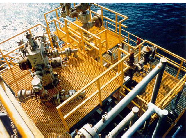 Offshore Oil and Gas platform F R P molded grating